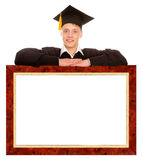 Graduate man with frame Stock Image