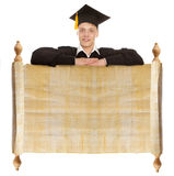 Graduate man with vintage blank Stock Photography
