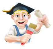 Graduate painter decorator. Professional training or learning or being qualified concept. Painter decorator with mortar board graduate cap and diploma Stock Images