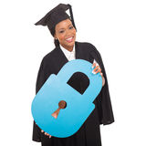 Graduate with paper lock Stock Photo