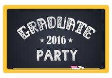 Graduate party 2016. High School Graduate, College Graduate. The inscription in chalk on a blackboard. Vector lettering Stock Photos