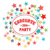 Graduate Party 2016 Vector lettering. Fireworks background of stars. Vector lettering Royalty Free Stock Photography