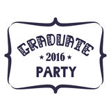 Graduate Party 2016 Vector lettering. Retro design Stock Image