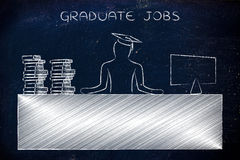 Graduate person sitting at office desk, caption graduate jobs Stock Photos