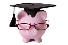 Graduate Piggybank student college graduation front view, isolated on white background Stock Photo