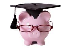 Graduate Piggy Bank student college graduation front view Stock Photo