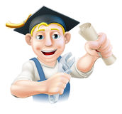 Graduate plumber or mechanic. Professional training or learning or being qualified concept. Plumber or mechanic with wrench and mortar board graduate cap and Royalty Free Stock Images