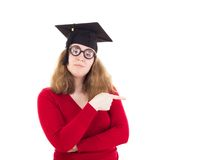 Graduate pointing to something Stock Photography