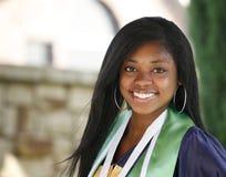 Graduate portrait. Beautiful happy African American graduate Stock Image