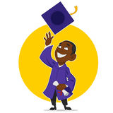 Graduate rejoices. Vector illustration. graduate throwing hat Royalty Free Stock Image