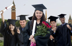 Graduate with Roses Royalty Free Stock Photos