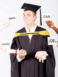 Graduate's wish list. Male university graduate's wish list Stock Images