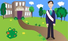 Graduate and  school. Vector illustration of graduate and  school Stock Photography
