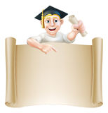 Graduate and scroll banner sign Stock Photography