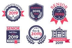 Graduate senior school badge. Graduation day emblem, graduates congratulations badges and education emblems vector royalty free illustration