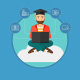 Graduate sitting on cloud. Stock Images