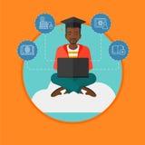 Graduate sitting on cloud vector illustration. Stock Image