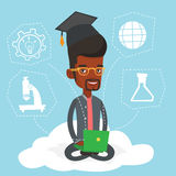 Graduate sitting on cloud vector illustration. Royalty Free Stock Images