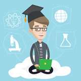 Graduate sitting on cloud vector illustration. Stock Photo