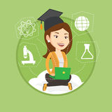 Graduate sitting on cloud vector illustration. Royalty Free Stock Photo