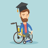 Graduate sitting in wheelchair vector illustration Royalty Free Stock Photography