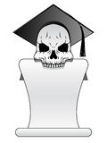 Graduate skull and diploma Stock Images