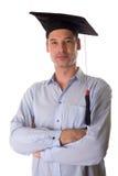 Graduate student. Confident university graduate student smiling stock photography