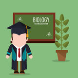 Graduate student biology plant and chalkboard Royalty Free Stock Photography