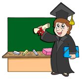 Graduate student with blackboard Stock Photos