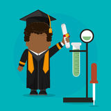 Graduate student certificate with testt tube science school. Vector illustration eps 10 Stock Photo