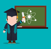 Graduate student with diploma and chalkboard science Stock Photos
