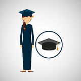 Graduate student girl cap icon Royalty Free Stock Images