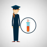 Graduate student girl chemistry design Stock Images
