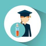 Graduate student girl chemistry design Royalty Free Stock Photo