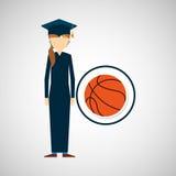 Graduate student girl sport ball Stock Image