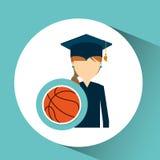 Graduate student girl sport ball Royalty Free Stock Image
