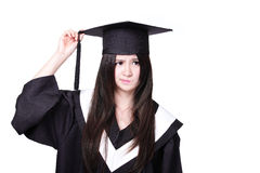 Graduate student girl thinking Stock Images