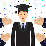 Graduate student, graduation hat, applaud. Smiling graduate student wearing graduation hat. Hands clap, applaud graduate. Education, approval, good job concept Royalty Free Stock Image