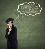 Graduate student and her future jobs Royalty Free Stock Images