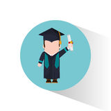 Graduate student holding certificate. Vector illustration eps 10 Royalty Free Stock Photography