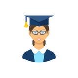 Graduate student icon, pictogram. Flat Royalty Free Stock Photo