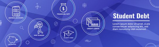 Graduate Student Loan Icon - Student Loan Graphics for Education Financial Aid or Assistance, Government Loans, and Debt. Graduate Student Loan Icon - Student