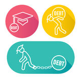 2016 Graduate Student Loan Icons Stock Image