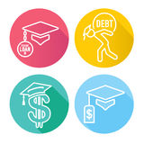 Graduate Student Loan Icons Royalty Free Stock Photography
