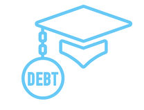 Graduate Student Loan Icons - Student Loan Graphics for Education Financial Aid or Assistance, Government Loans, and Debt. Graduate Student Loan Icon - Student Stock Photography