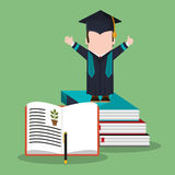 Graduate student stack book biology Royalty Free Stock Images