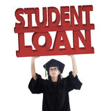Graduate student with student loan text Stock Photos