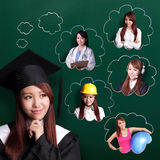 Graduate student woman think future Royalty Free Stock Images
