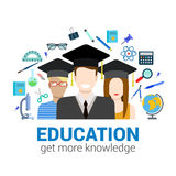 Graduate students and knowledge objects education infographic Stock Image