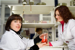 Graduate students in the lab with teacher Stock Photos